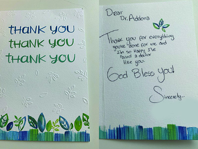 Testimonial card from Dr. Addona's patient