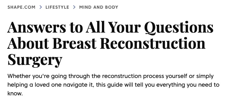 Dr. Addona Discusses Breast Reconstruction in Shape Magazine